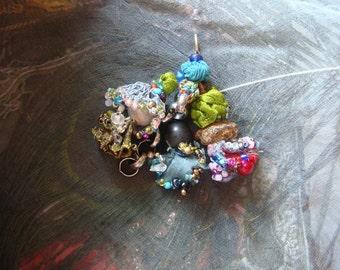 RESERVED boho  dance - a mixed media boho gypsy pendant
