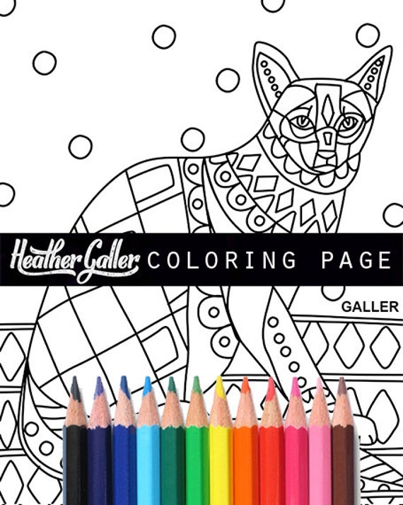 Cat Coloring Book Adult Pages For Adults Printable