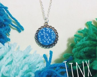 Vintage Fabric Pendant Necklace // Teal Blue and white