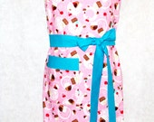 Plus Size Apron, Pink & Teal Cupcake Ladies Apron, Cupcakes and Cherries, Custom Personalized With Name, Ready To Ship TODAY AGFT 795