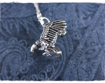 Silver Vulture Necklace - Sterling Silver Vulture Charm on a Delicate Sterling Silver Cable Chain or Charm Only