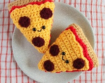 Pizza Slice Amigurumi Plush Crochet Food Kawaii