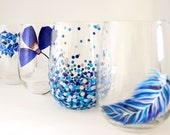 Something Blue Set - Hand Painted Wine Glasses - Wedding Gift for Bride and Groom - Newlywed Gift - Unique Drinking Glasses - Hostess