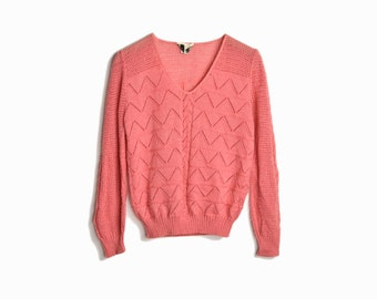 Vintage Chevron Knit Sweater in Salmon Pink / 1970s Sweater - women's small/medium