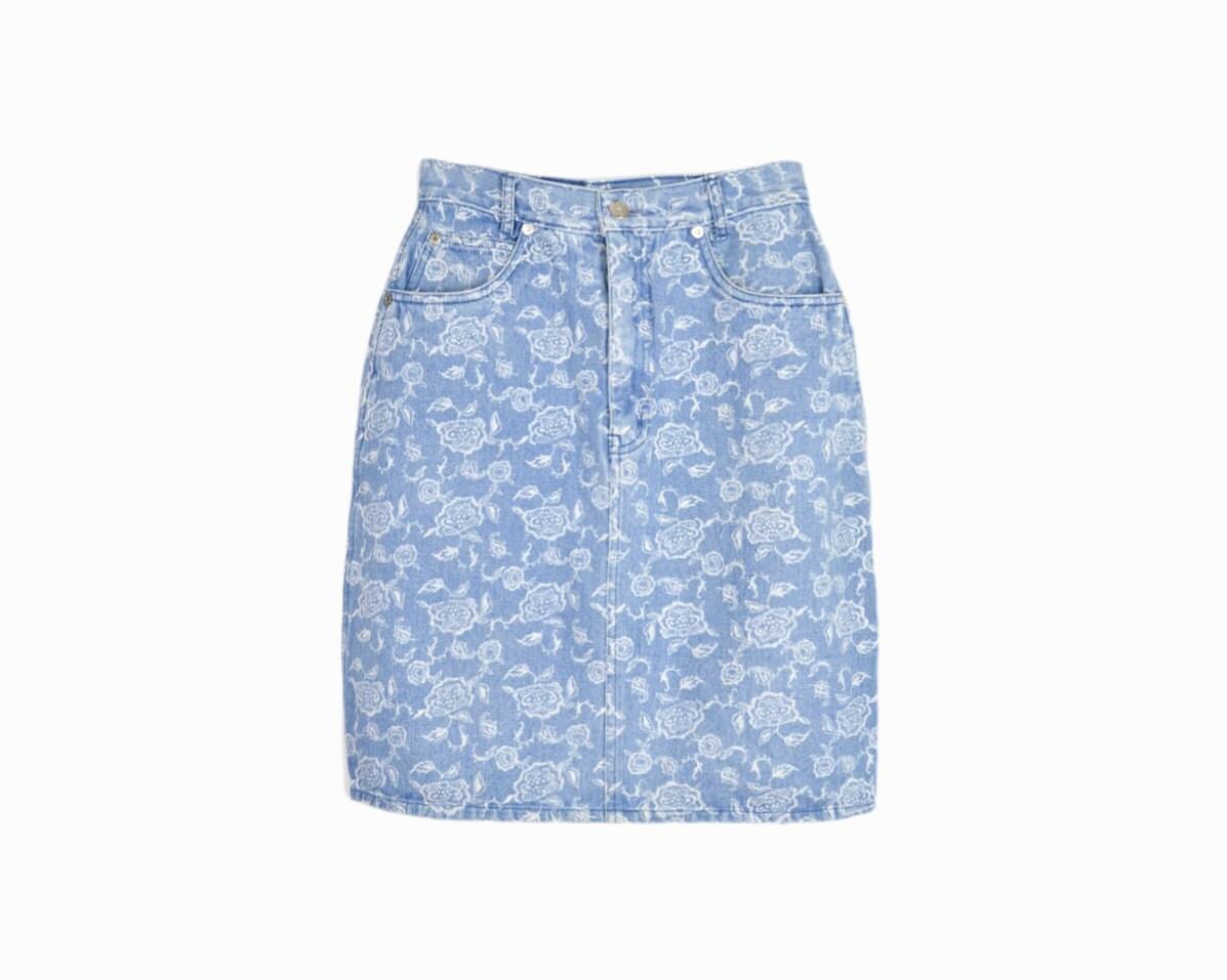 vintage 90s floral denim pencil skirt blue jean skirt