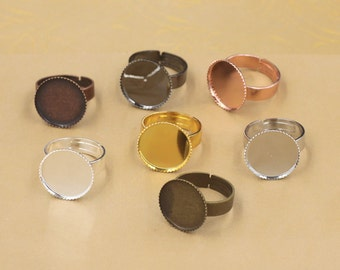 20 Ring Base Brass Silver/ Gold/ Rose Gold/ White Gold/ Gun-Metal Plated Jagged 12mm/ 14mm/ 16mm/ 18mm/ 20mm/ 25mm/ 30mm Round Bezel- Z5932