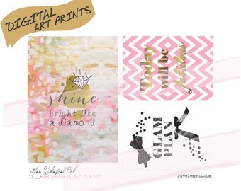 Digital MP01 Whimsical Glam Pink Art Prints for Home and Office Decor   1 5x7 & 2 3.5x5 for you to print