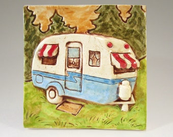 Retro Trailer Ceramic Art Tile, Blue Camper, Wall Art, 4 x 4 Handmade Tile