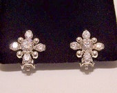 Crystal Cluster Clip On Earrings Plated Silver Tone Vintage Clear Faceted Stone Four Round Accent Beads