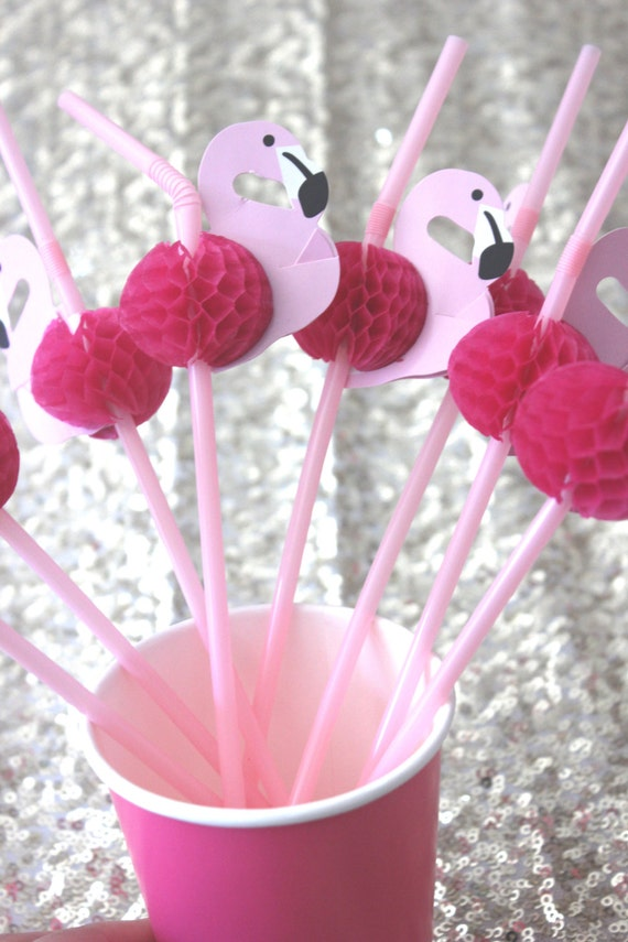 12 PINK FLAMINGO STRAWS Honeycomb 3D Luau Birthday Wedding ...