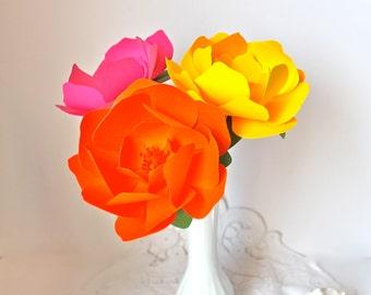 Handmade Paper Flower - Kara - Custom Colours - Set of 3 - Stems  Included
