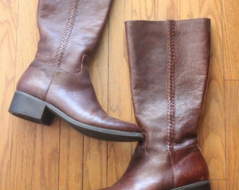 Vintage 90's Brown Leather Knee High Zip Up Riding Equestrian Boots by Nicole, size 10