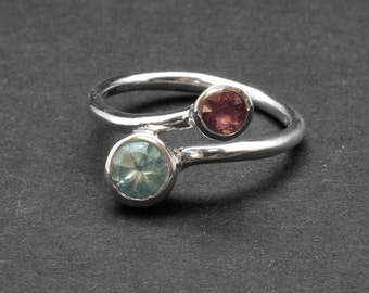 Twist Dual Stone Ring, Blue Topaz Purple Amethyst Sterling Silver Ring, Delicate Double Birthstone November/February Ring, Size 8 Ring