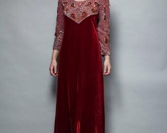 red velvet evening gown beaded maxi dress vintage 1960s 60s M MEDIUM