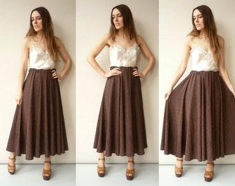 Vintage 1980's Retro Print Full Circle Midi Skirt One Size
