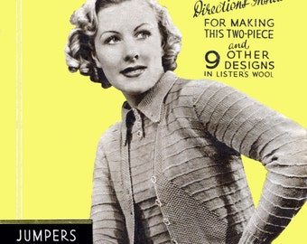 October 1937 Good Knitting Booklet Ladies Jumpers and Cardigans 11 Designs Vintage Knitting Patterns Woman's Sphere