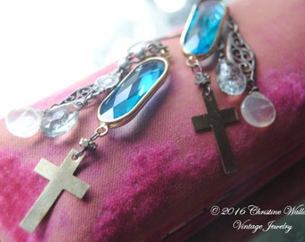 The Cross And Stones--Vintage Cross Rosary Filigree Links Gemstone Faceted Quartz Stone EARRINGS
