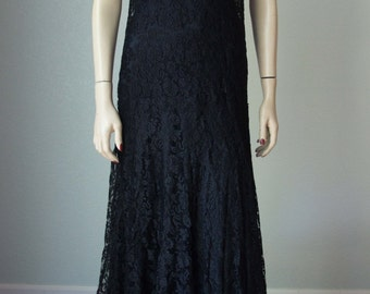 Early 1930s Art Deco // Antique Silk Handmade Lace Trumpet Hem Gown // Satin Skirt Lining // Incredible Lace - Small-Medium