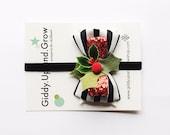 Holiday Hair Bows, Christmas Headband, Striped Bow with Vintage Holly Berries, giddyupandgrow