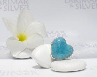 Larimarandsilver ring size 6.5, A Heart to swim in - azure Larimar heart, blue heart, Caribbean blue, deep turquoise, handmade Larimar ring