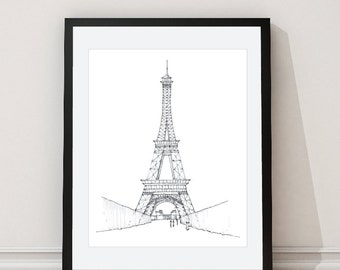 Eiffel Tower Print - Eiffel Tower Architectural Print - Paris Architectural Print - Eiffel Tower Architectural Drawing - Grey - Aldari Art