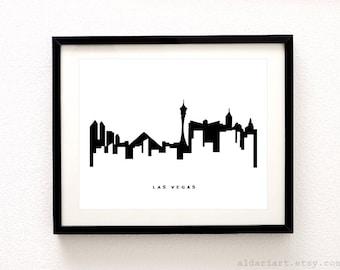 Las Vegas Print - Las Vegas Wall Art - Las Vegas Skyline Print - Las Vegas Skyline Poster - Modern Decor - Aldari Art