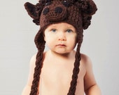 Buffalo hat pdf PATTERN, 1 year to adult, bison hat with horns to crochet for child or adult, photo prop, digital download