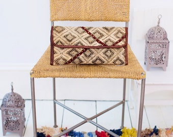 Gift Ideas, Moroccan Brown Burgundy Colour Kilim Hand Clutch with Shoulder Straps Berber style-bag, tote, handbag, purse, gifts