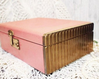Jewelry Box, Pink and Gold, Two Tiered Jewelry Box, Royal Blue Velvet interior, Vintage Jewelry Box
