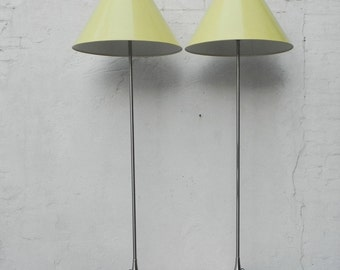 Pair Laurel Brushed Aluminum Floor Lamps with Canary Yellow Cone Shades