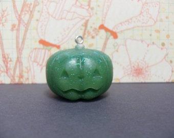 Cute Resin Pumpkin Charm Jack o Lantern Glittery Green