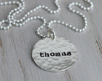 stamped names necklace, mothers necklace, one name necklace, 1 name, stamped name tag necklace, push present, name tag jewelry