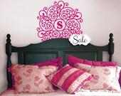 Mandala Vinyl Decal Monogram Circle Decal - Doily Wall Decor - Vinyl Decal Custom Monogram - Custom Bedroom Wall Decal