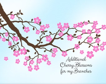 Cherry Blossoms Vinyl Wall Decals (Flowers ONLY -- No Branch, No Birds)