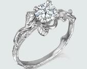 Leaves moissanite engagement ring twig nature inspired art nouvue whimsical ring