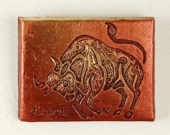 Taurus Bull Stone Art Sculpture, Zodiac Wall Plaque, April May Birthday Gift Taurus, Zodiac Garden Art