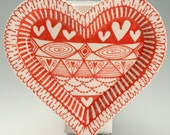 Medium Rim Heart Shaped Dish Red and White Hand Painted Anniverary, Wedding, Valentine Gift