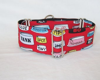Dog Bowl Martingale Dog Collar - 1.5 or 2 Inch - red white love fun food puppy names spike princess fido spot