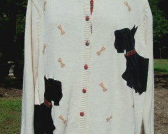 Scotty Dog Scottish Terriers Cardigan Sweater Extra Point Size 1X Bust 44 - 46 Inches Women's Sweater Plus Size Sweater