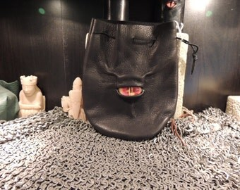 Medium bag--- Black  leather  with Red Eye