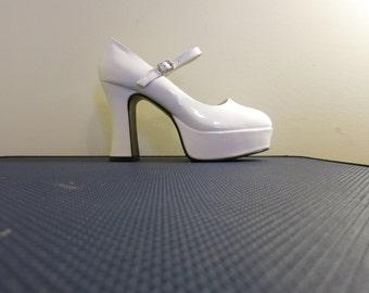 Shoes Platform mary jane heels WHITE 1990s club rave vegan 5 6