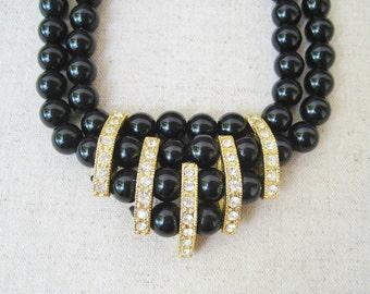 Glitzy Black Vintage Necklace