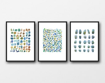 triptych wall art, Nautical Prints beach house decor, Abstract watercolor paintings, set of 3 prints, beach