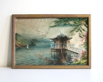 SALE Embroidered Silk Oriental Landscape