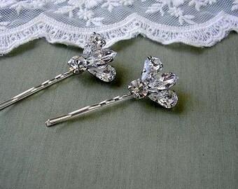 BRIDAL hairpin  vintage style  wedding hair  ACCESSORIES Rhinestone set of 2