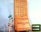 Vintage Handmade Apothecary / Parts Bin Cabinet: Rustic Wooden Industrial Storage Organizer -- 35 Drawers in 4 Sizes + 11 Cubbies + Casters