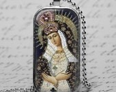 Virgin Mary  Jewelry Blessed Mother Glass Tile Pendant Necklace Christian Necklace