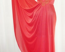Olga Body Silk Nightgown Primary Red Grand Sweep 190 Inches Chevron Lace Vee Bodice U.S.A. Made Small