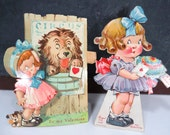 2 1930s Valentine Cutie Girls Valentine Cards - Mechanical - Art Deco Era Germany