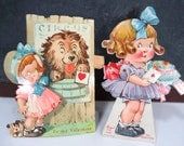 2 Vintage Valentine Girl Cards, Mechanical, Art Deco Era Germany, Dolly Dimple Style Girls